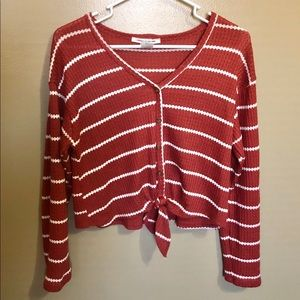 Striped cropped long sleeve top with buttons